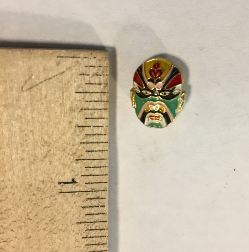 Chinese Opera Mask Lapel Pin Vintage Cloisonne-style From Family Estate Enamel 12 Secure Screw-On Back