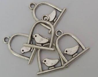 6 charms bird silver 2 x 1.4 cm