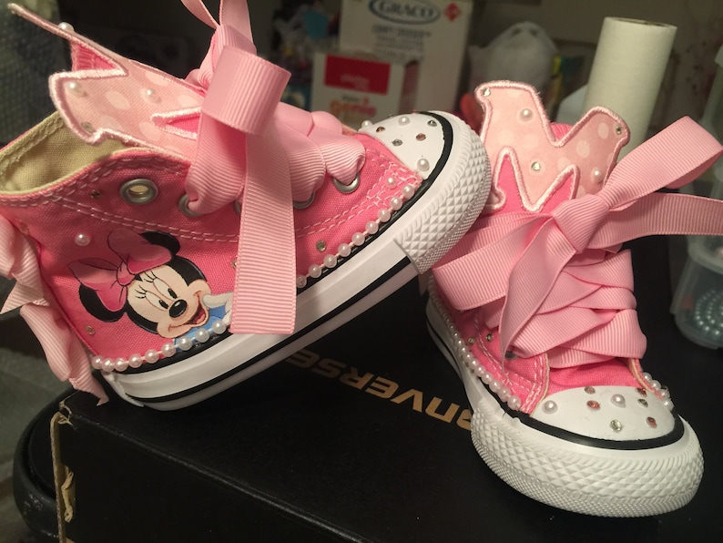 Kids Custom Minnie Mouse Birthday Converse Birthday Shoes Minnie Mouse Shoes Custom Converse