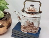 Vintage Chinese Tea Pot w British Chinese Ships-Brown-White Porcelain-Kettle-Brass Swing Handle w sailing ships at sea