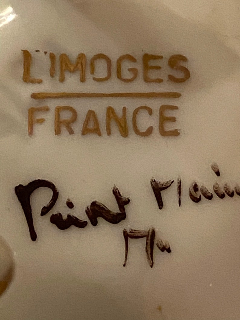 Limoges France Porcelain Round Rose 3 Claw Footed Trinket Box Limoges France trinket box Signed on bottom Ring box