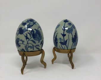 Beautiful Set of 2 Decorative Blue & White Eggs each on a brass stand