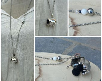 Silver Apple necklace for aromatherapy or Fragrance Diffuser