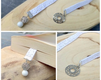 Bookmark design fabric lace, Pearl nest stainless steel, white glass Pearl, rose