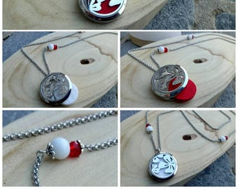 Aromatherapy necklace or steel Fragrance Diffuser stainless red & white flower