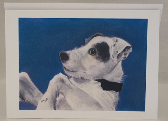 Jack Russell White - colour pastel blank greeting card - 126 x 177mm