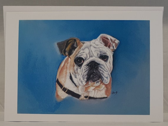 English Bulldog - colour pastel blank greeting card - 126 x 177mm