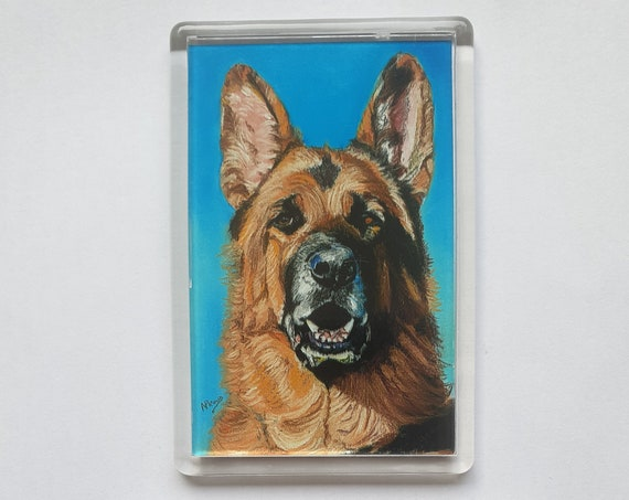 Alsation/German Shepherd - Fridge magnet - 76 x 52 x 5mm