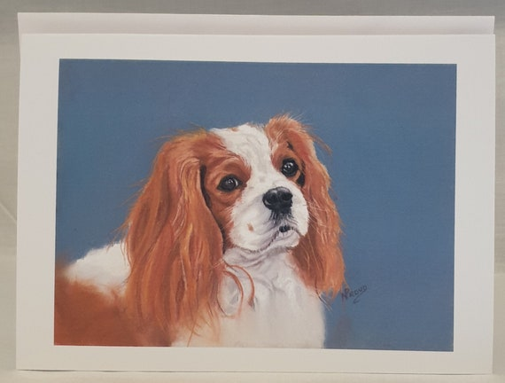 Cavalier King Charles Spaniel Brown - colour pastel blank greeting card - 126 x 177mm