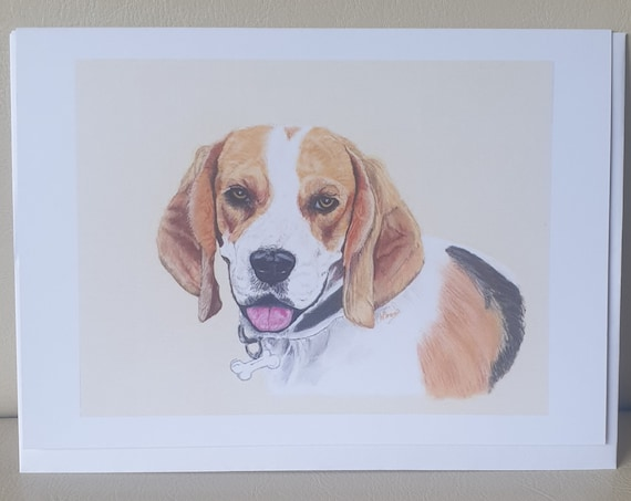 Beagle Brown/White - colour pastel blank greeting card - 126 x 177mm
