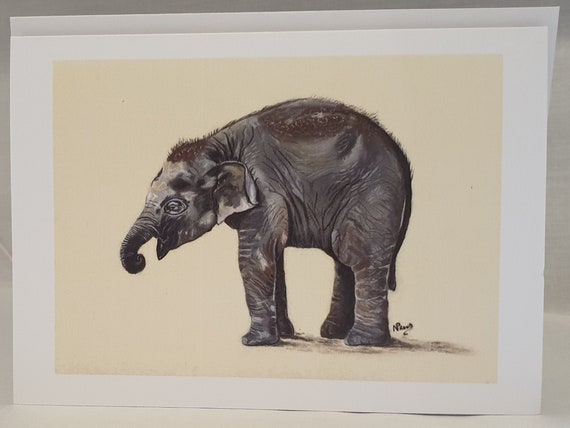 Elephant - colour pastel blank greeting card - 126 x 177mm