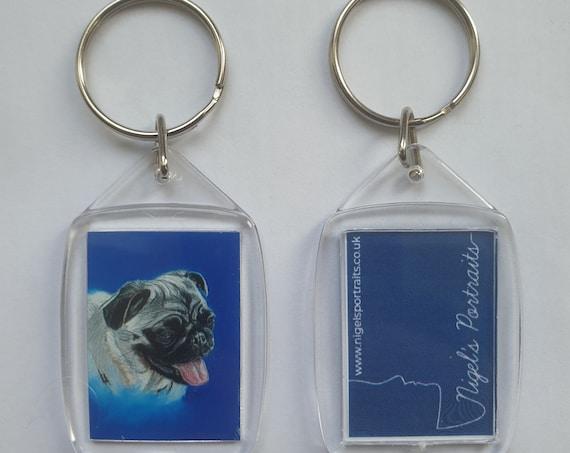 Pug dog Pastel Portrait Print - Key Ring - 54 x 34 x 5mm