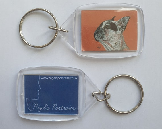 French Bulldog White - Key Ring - 34 x 54 x 5mm