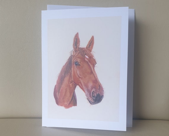 Brown Horse - colour pastel blank greeting card - 177 x 126mm