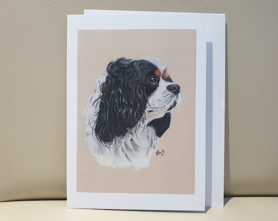 Cavalier King Charles Spaniel Black - colour pastel blank greeting card - 177 x 126mm
