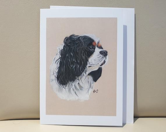 Cavalier King Charles Spaniel Black - colour pastel blank greeting card - 177 x 126mm