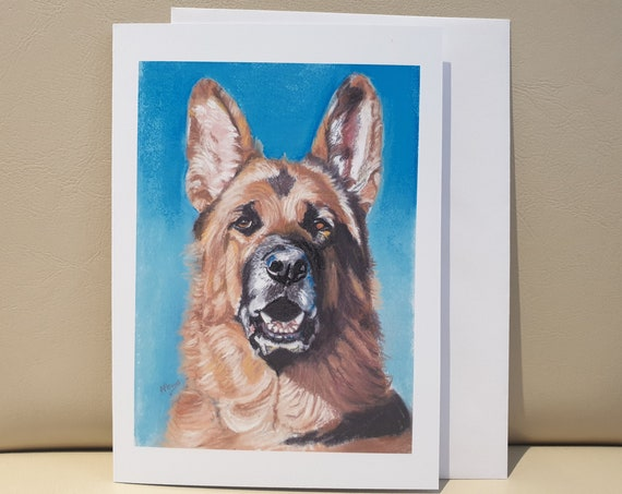 Alsation/German Shepherd Dog - colour pastel blank greeting card - 177 x 126mm