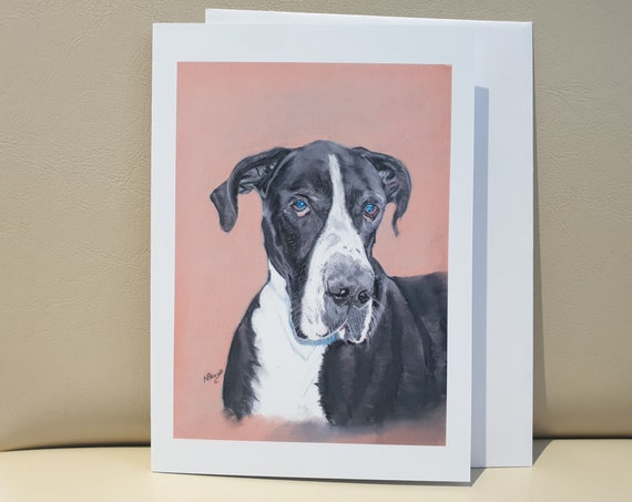 Great Dane - colour pastel blank greeting card - 177 x 126mm