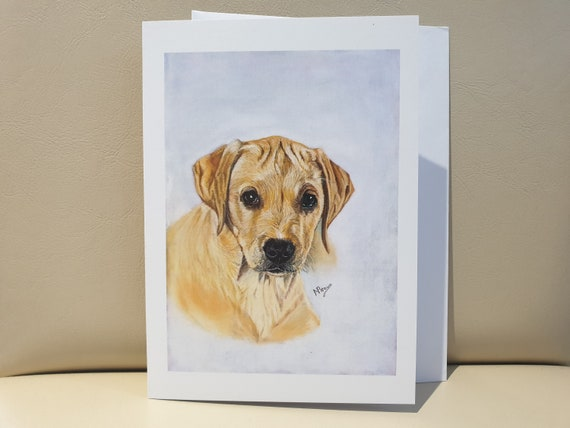 Labrador Puppy - colour pastel blank greeting card - 177 x 126mm