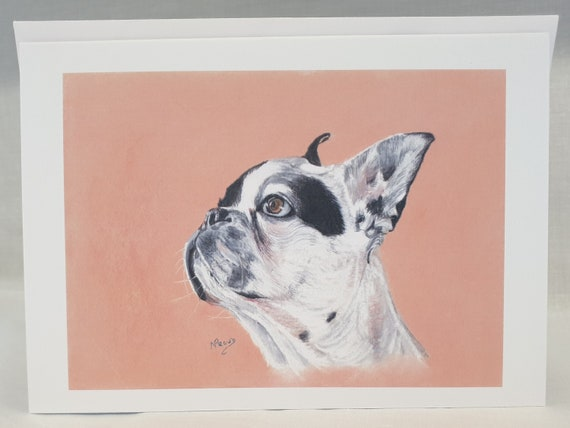 French Bulldog White - colour pastel blank greeting card - 126 x 177mm