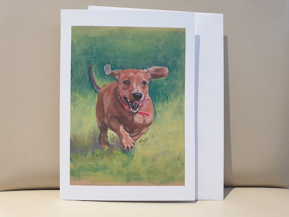 Dachshund - colour pastel blank greeting card - 177 x 126mm