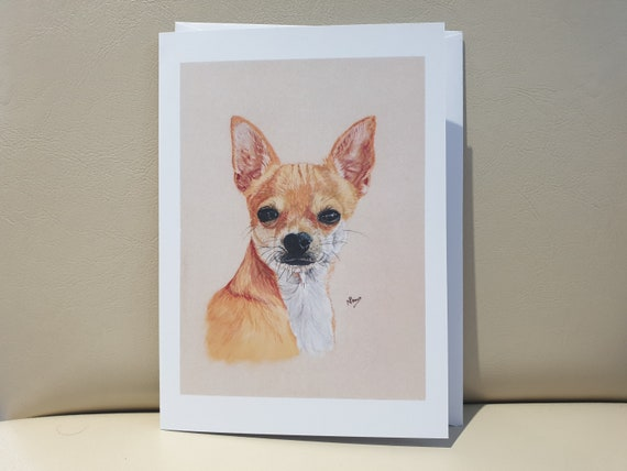 Chihuahua - colour pastel blank greeting card - 177 x 126mm
