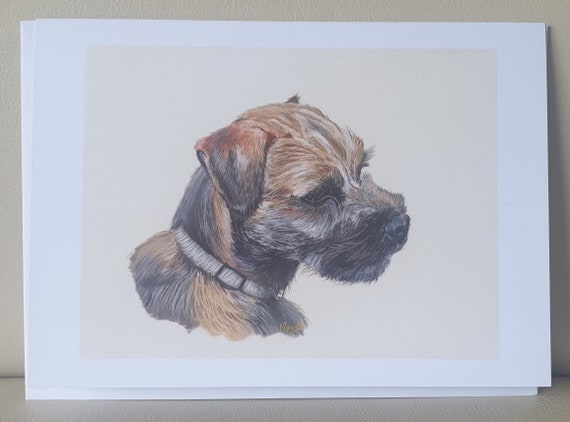 Border Terrier Brown/Grey Pastel Portrait Print - colour pastel blank greeting card - 126 x 177mm