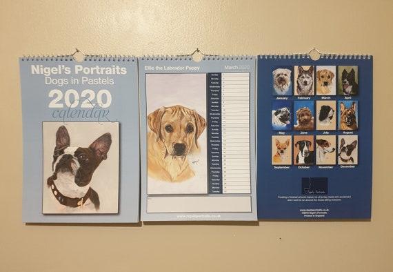 A4 2020 Calendar - Lhasa, Husky, Labrador, Border Collie, Pug, Labradoodle, Cavalier Spaniel, GSD, Chihuahua, Gt Dane, JRT, French Bulldog