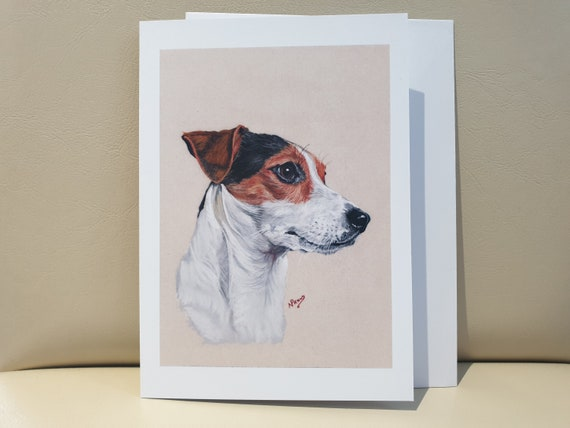 Jack Russell Brown- colour pastel blank greeting card - 177 x 126mm