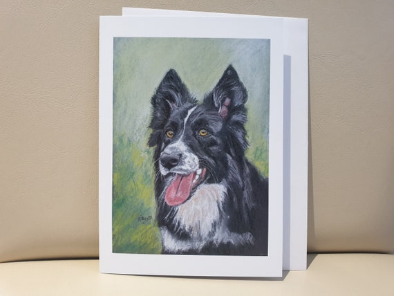 Border Collie - colour pastel blank greeting card - 177 x 126mm