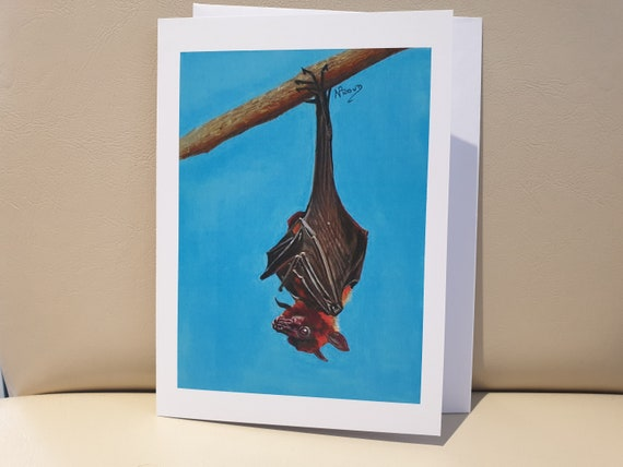 Bat - colour pastel blank greeting card - 177 x 126mm