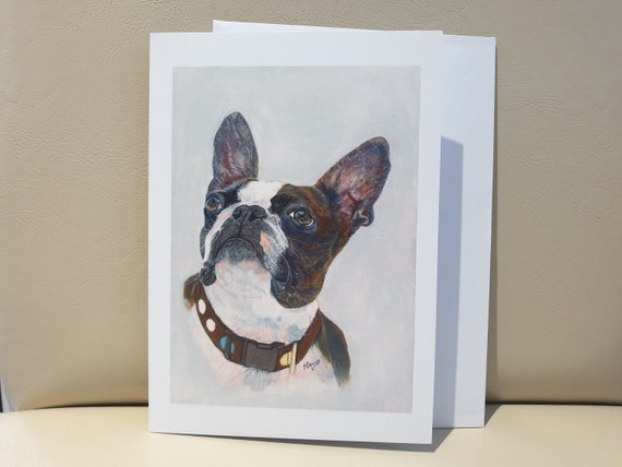 French Bulldog Grey - colour pastel blank greeting card - 177 x 126mm