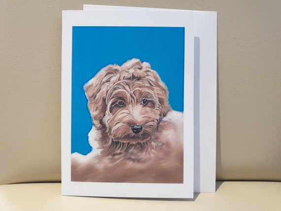 Labradoodle - colour pastel blank greeting card - 177 x 126mm