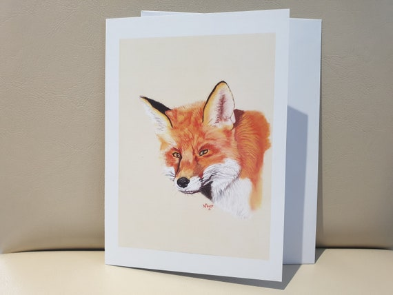 Red Fox - colour pastel blank greeting card - 177 x 126mm