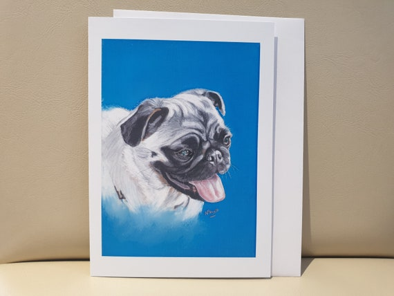 Pug - colour pastel blank greeting card - 177 x 126mm