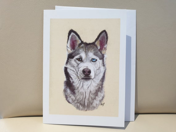 Siberian Husky - colour pastel blank greeting card - 177 x 126mm