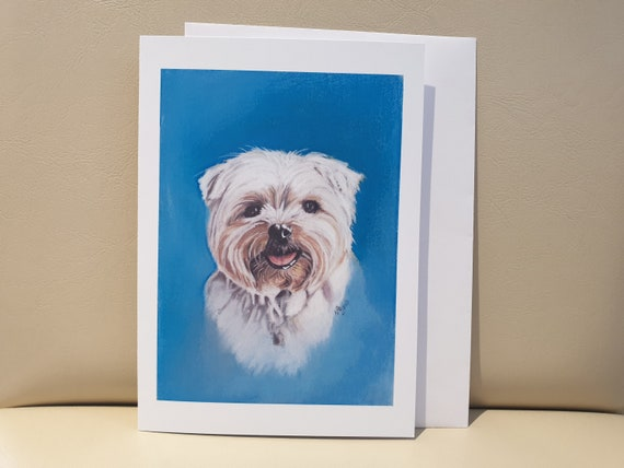 Lhasa Apso - colour pastel blank greeting card - 177 x 126mm