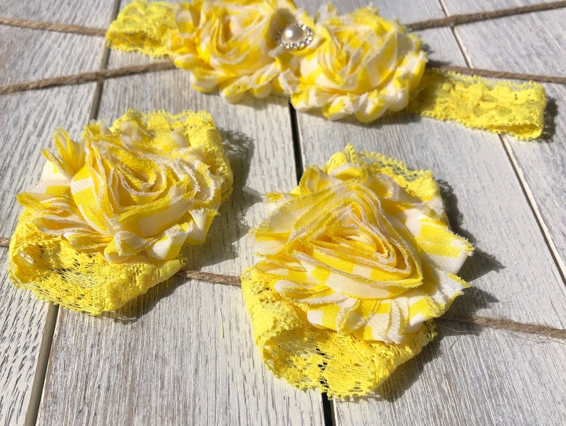 Baby Gift 6-12 Month Headband and Sandal Set Lace Stretchy Sandals Yellow