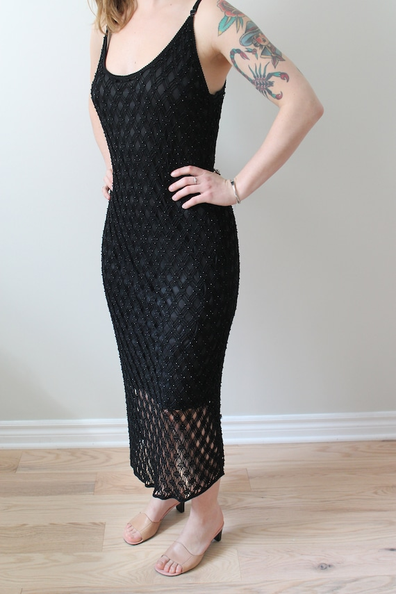 Vintage Simon Chang beaded crochet dress / Black e