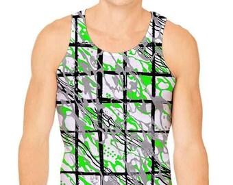 cee14279ea036 Men s Paint Splatter Camouflage Plaid Tank Top