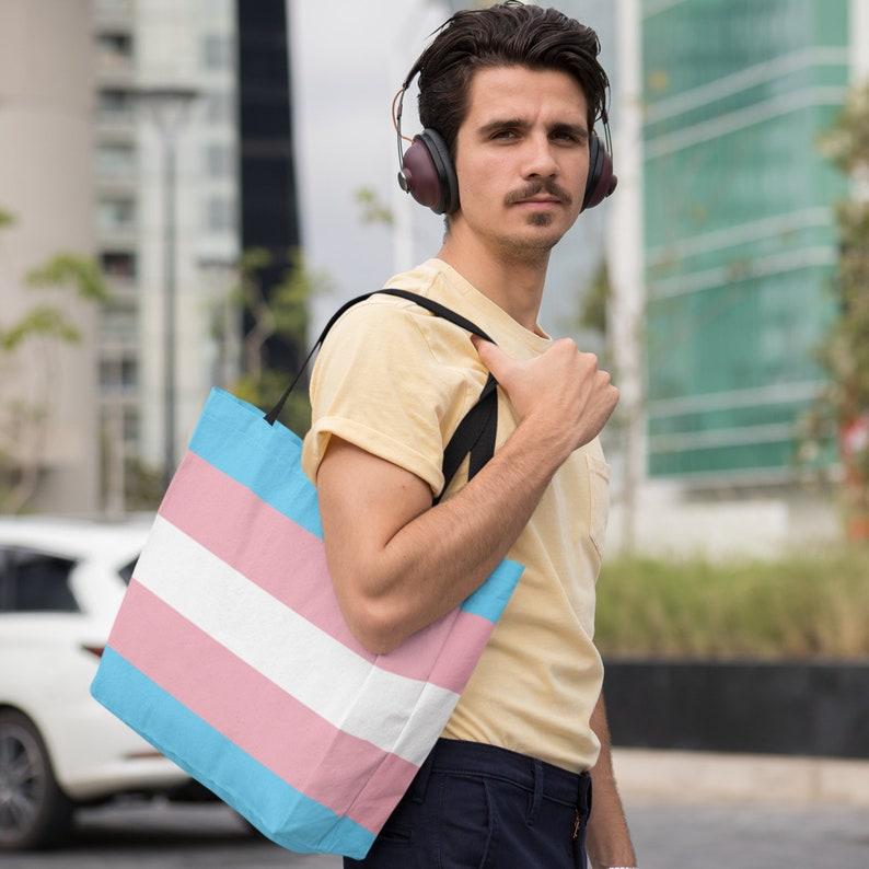 65 MCMLXV LGBT Transgender Pride Flag Print Tote Bag image 0