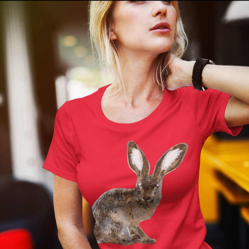 65 MCMLXV Unisex Red 70s Disco Hare Rabbit Graphic T-Shirt image 1