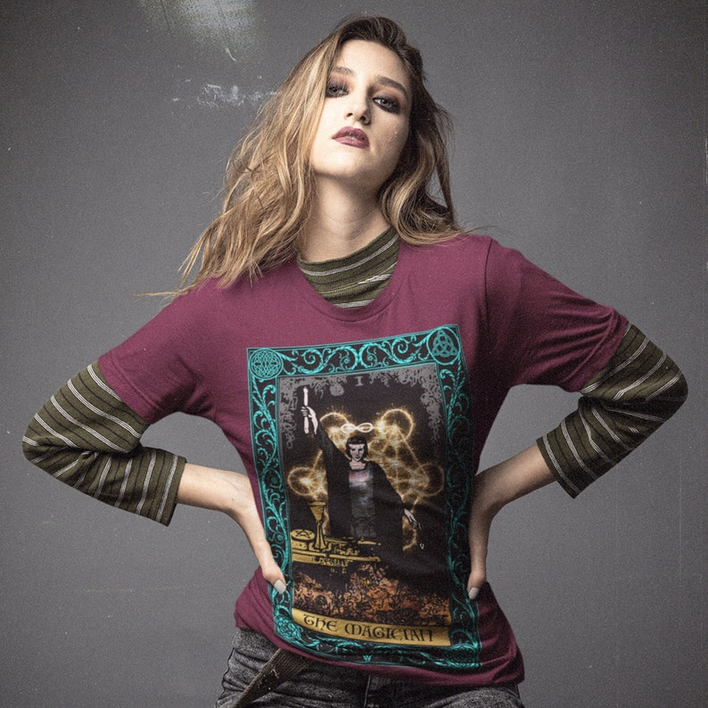 65 MCMLXV Unisex The Magician Tarot Card Graphic T-Shirt image 0