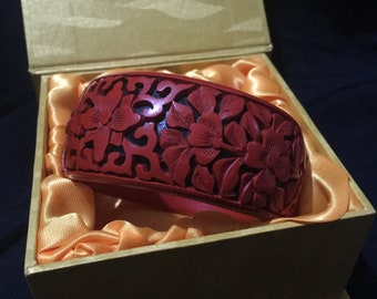 Carved Red Cinnabar Bangle - Chinese Lacquer - Original Gift Box Vintage