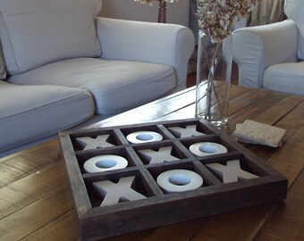 Tic Tac Toe Wood Board Espresso Coffee Table Nine Squares