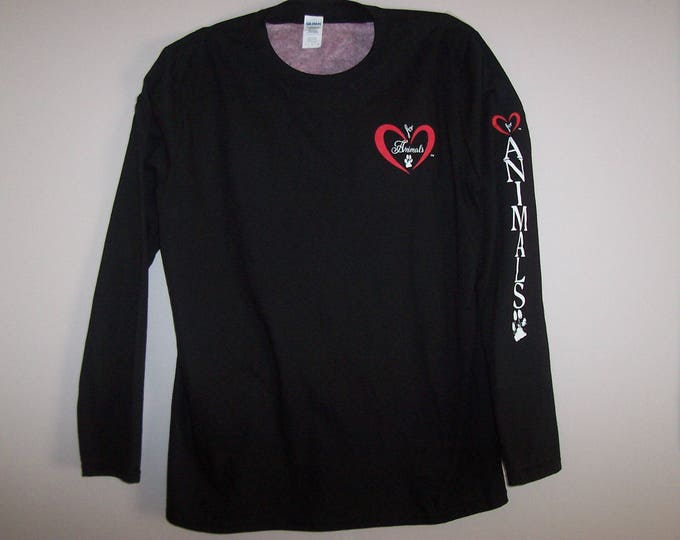 Heart of Love for Animals - Unisex - Adult Long Sleeve Shirt - Size XL