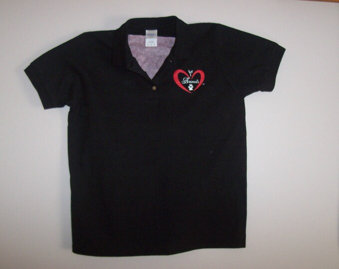 Heart of Love for Animals - Ladies Polo/Golf Shirt - Adult - Size M