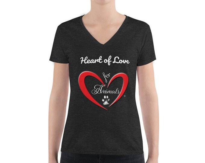 Heart of Love for Animals - Women's Fashion Deep V-neck Tee