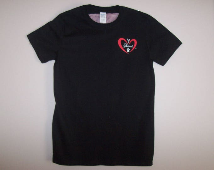 Heart of Love for Animals - Unisex - Adult Short Sleeve - Size L