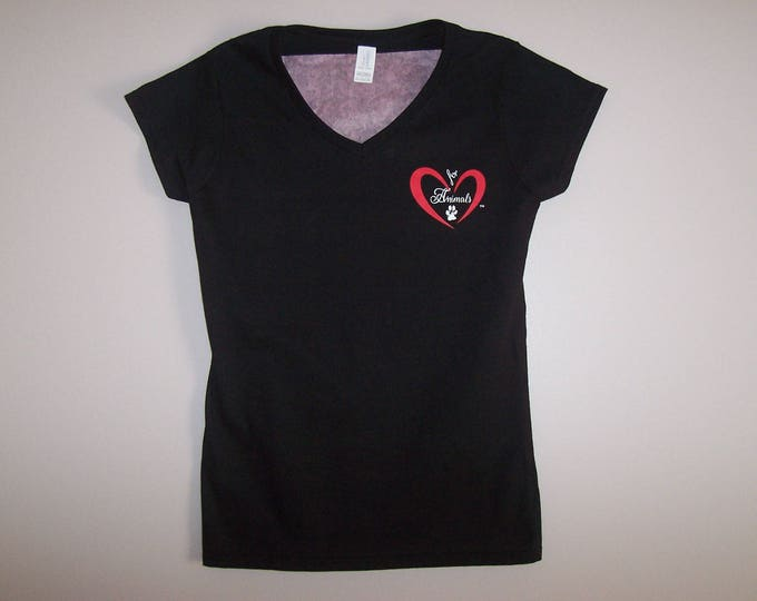 Heart of Love for Animals - Ladies V-Neck Short Sleeve - Size M